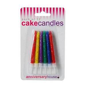 Anniversary House - Multi-Coloured Glittered Birthday Candles