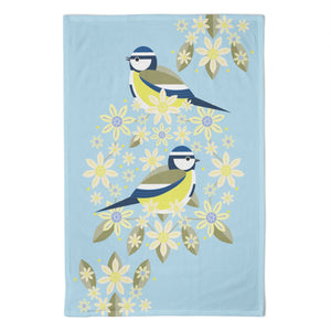 I Like Birds Blooms Tea Towel Blue Tit