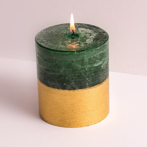 St Eval Candle Co - Winter Thyme Gold Half Dipped Pillar Candle