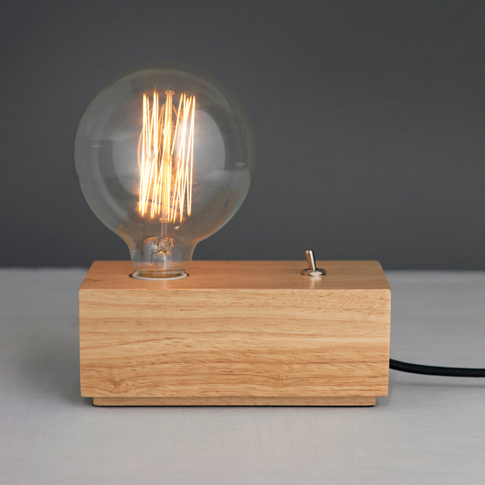 Amber Bright - Wood Block Table Light (bulb not included)