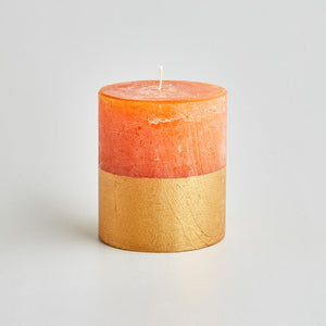 St Eval Candle Co - Orange & Cinnamon Gold Dipped Pillar 3.5 x 4""