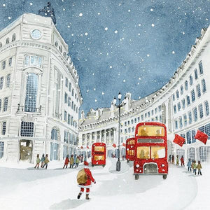 The Art File Christmas Charity Cards - 4 Boxes of 6 London Bus & Santa