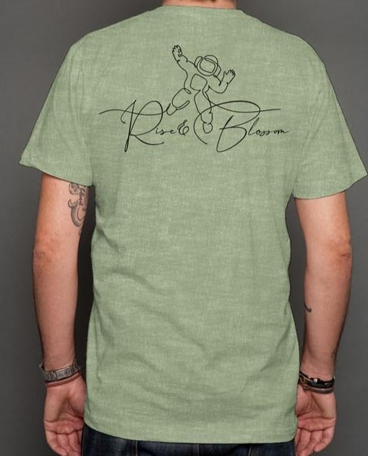 Rise and Blossom Heather Green t shirt