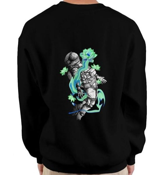 Currently Evolving Black heavy crewneck sweatshirt