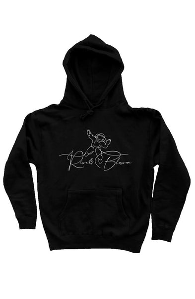 Rise and Blossom Black heavyweight pullover hoodie