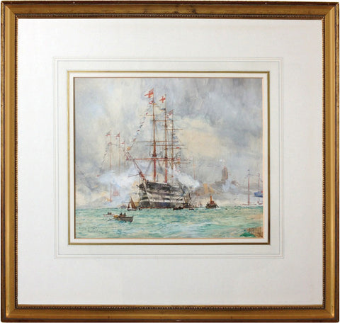 HMS Victory Firing the Coronation Salute