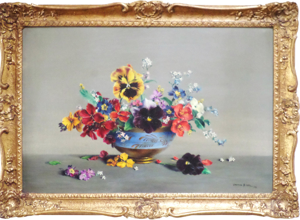Pansies and Other Flowers in a Lustre Vase