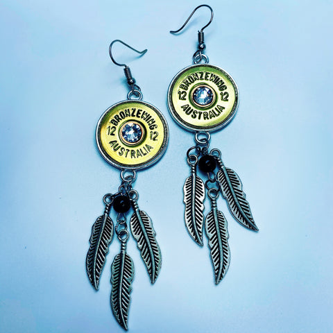 BRONZE WING 12 gauge Feather Dangle Earrings
