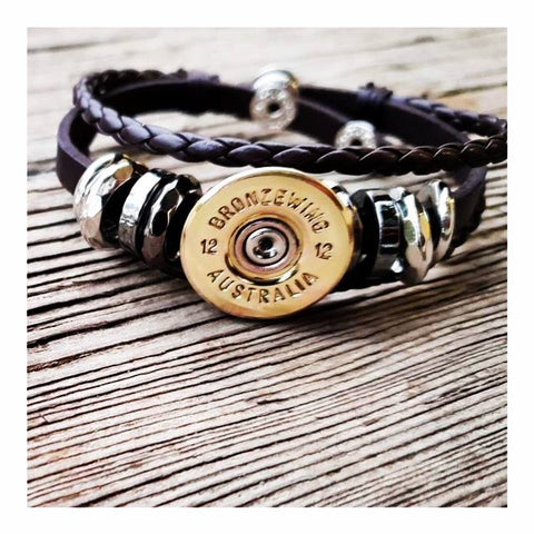 BRONZE WING 12 gauge Leather Bracelet - black