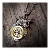 BRONZE WING 12 gauge Owl Necklace