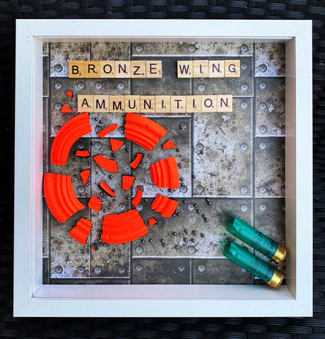 BRONZE WING AMMUNITION Scrabble Frame - White