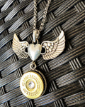BRONZE WING 12 gauge Angel Heart Necklace