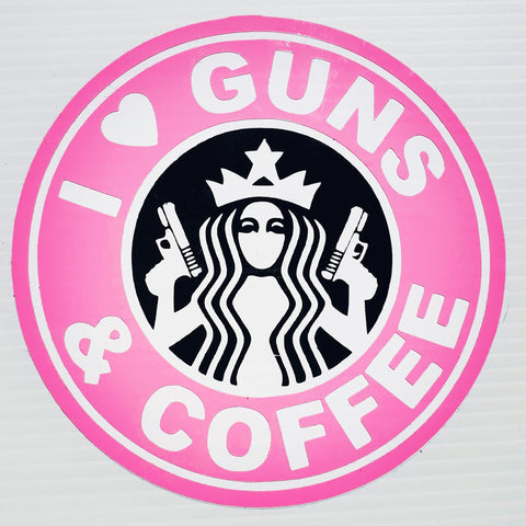 Premium Stickers - I ❤️ Guns & Coffee