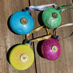 Christmas Baubles - Set of 4 - Yellow/Green/Blue/Rasberry Sparkle