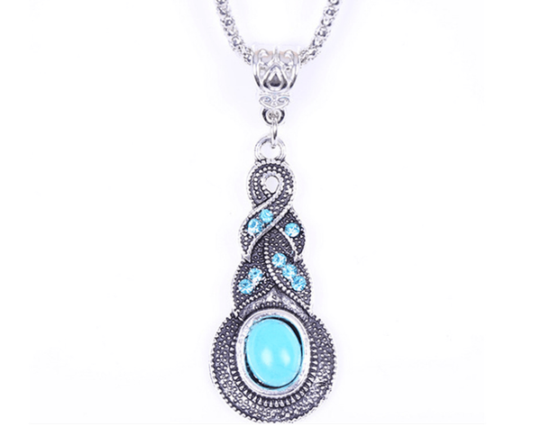 Crystal Ice Cracked Turquoise Pendant Necklace - FashionBazzaar