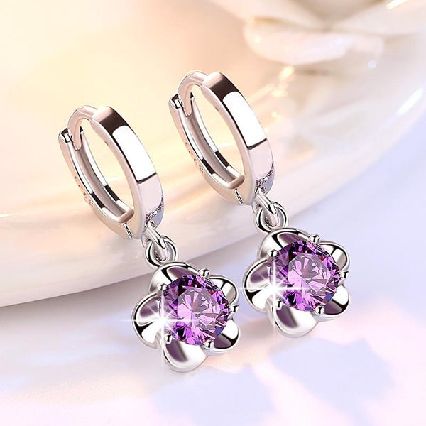 Plum Silver Wild Stud Earrings - FashionBazzaar