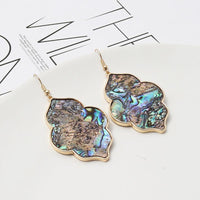 Abalone Shell Leopard Geometric Earrings Set - FashionBazzaar