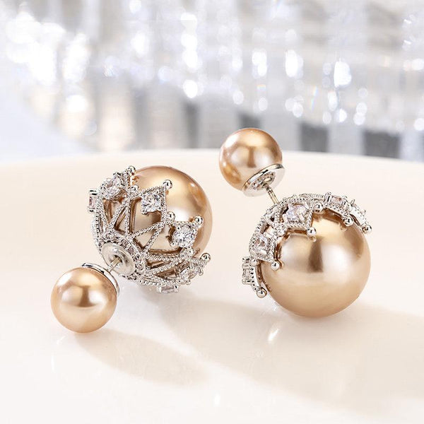 Sterling Silver Double-sided Pearl Stud Earrings - FashionBazzaar