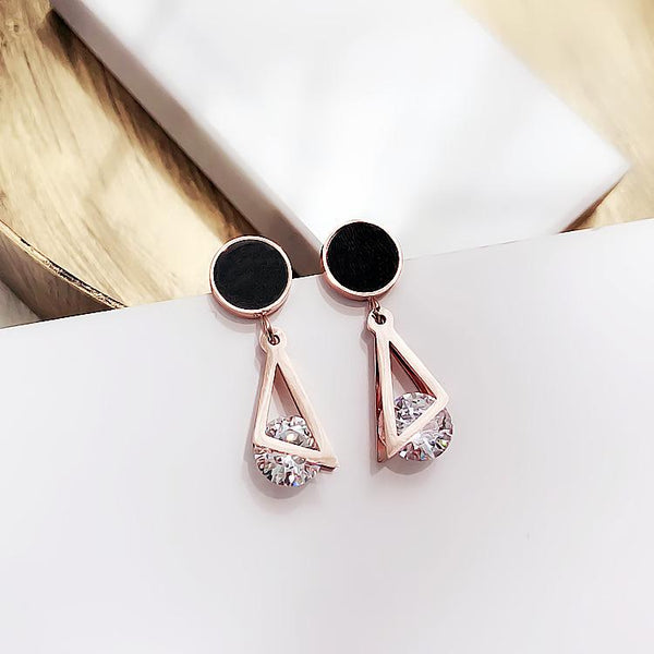 Geometric Double Triangle Stud Earrings - FashionBazzaar
