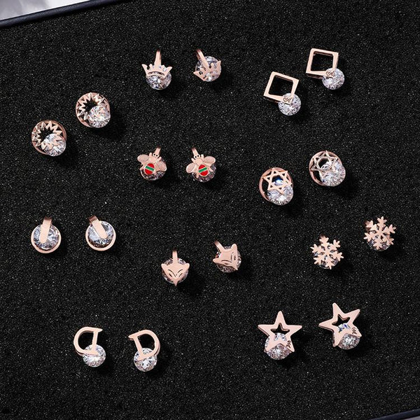 Petite Zircon Titanium Steel Stud Earrings - FashionBazzaar