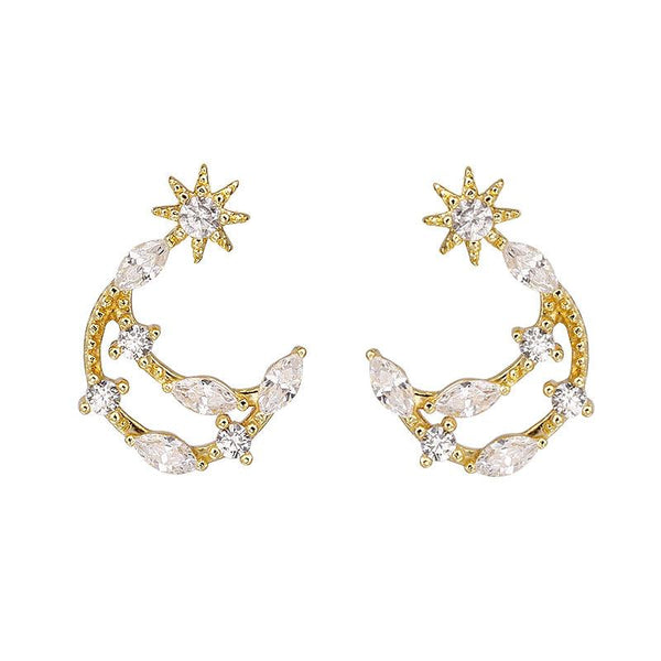 Moon Zircon Stud Earrings - FashionBazzaar