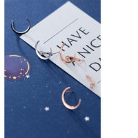 Sterling Real Silver Moon Shape Stud Earrings - FashionBazzaar