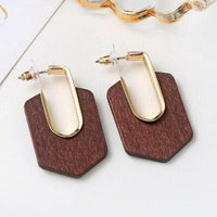 Geometric Square Flower Wooden Dangle Earrings - FashionBazzaar