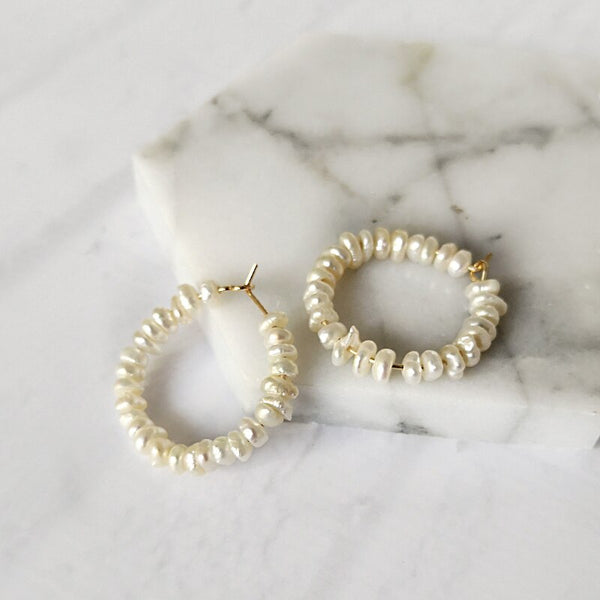 Handmade Geometric Beaded Pearl Hoop Earrings