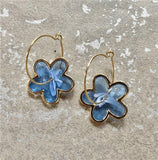 New Korean Blue Acrylic Geometric Earrings Set - FashionBazzaar