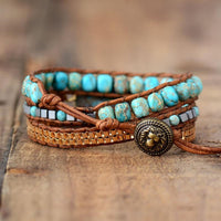 High Leather Wrap Beaded Bracelet - FashionBazzaar