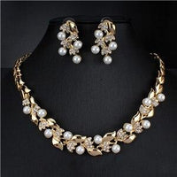 Imitation Pearl Bridal Necklace Set - FashionBazzaar