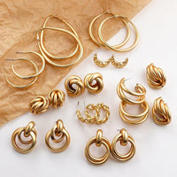 Gold Color Earrings Set - FashionBazzaar