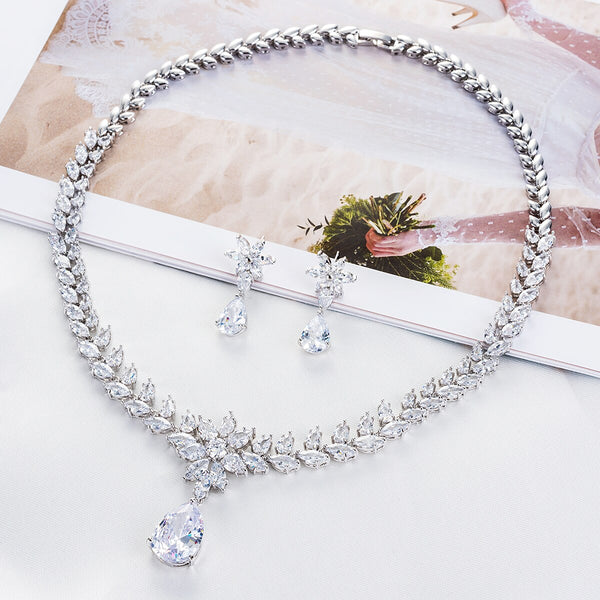 Gorgeous Crystal Zircon Dangle Bridal Necklace Sets - FashionBazzaar