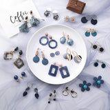 Summer Acrylic Geometric Round Stud Earrings Set - FashionBazzaar