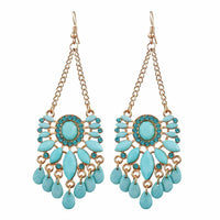 Blue Water Drop Crystal Statement Dangle Earring Set - FashionBazzaar