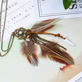 Peacock Feather Long Chain Necklace - FashionBazzaar