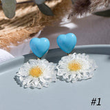 Korean Blue Geometric Flower Pendant Dangle Earrings - FashionBazzaar
