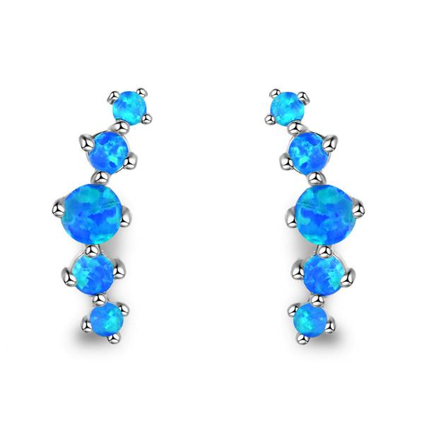 Sterling Silver Fire Opal Stud Earrings - FashionBazzaar