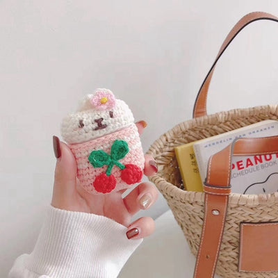 Knitted Plush Doll Teddy Bear Airpods Case