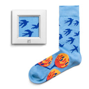 frame socks blue yellow swallows colorful socks artsocks