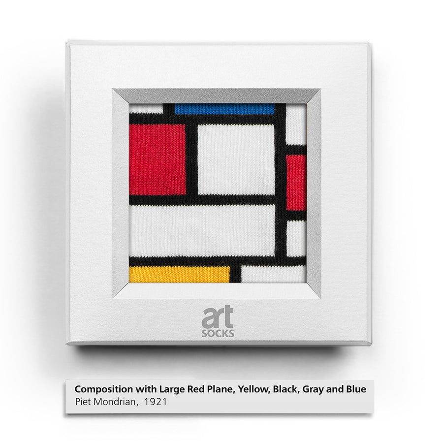 Composition with Large Red Plane, Yellow, Black, Gray, and Blue by Piet Mondrian colorful art socks artsocks frame