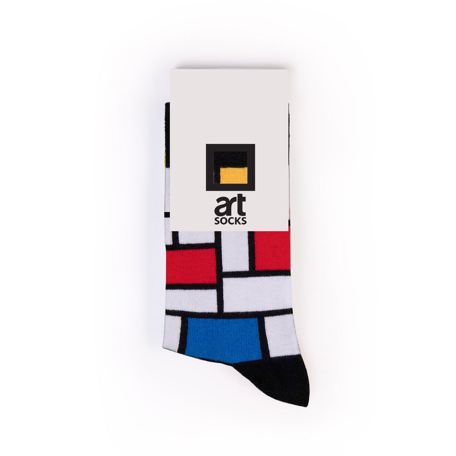 Composition with Large Red Plane, Yellow, Black, Gray, and Blue by Piet Mondrian colorful art socks artsocks label