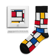 Composition with Large Red Plane, Yellow, Black, Gray, and Blue by Piet Mondrian colorful art socks artsocks