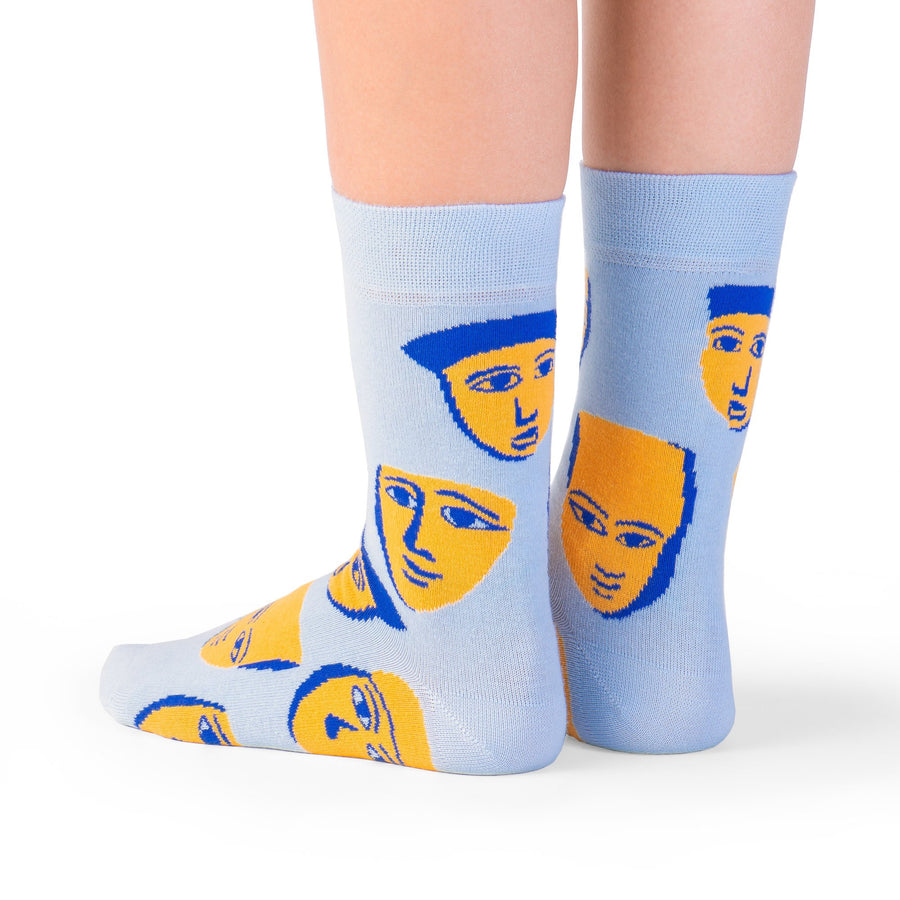 socks blue yellow masks colorful socks artsocks
