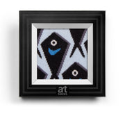 socks inside a black frame black fishes artsocks