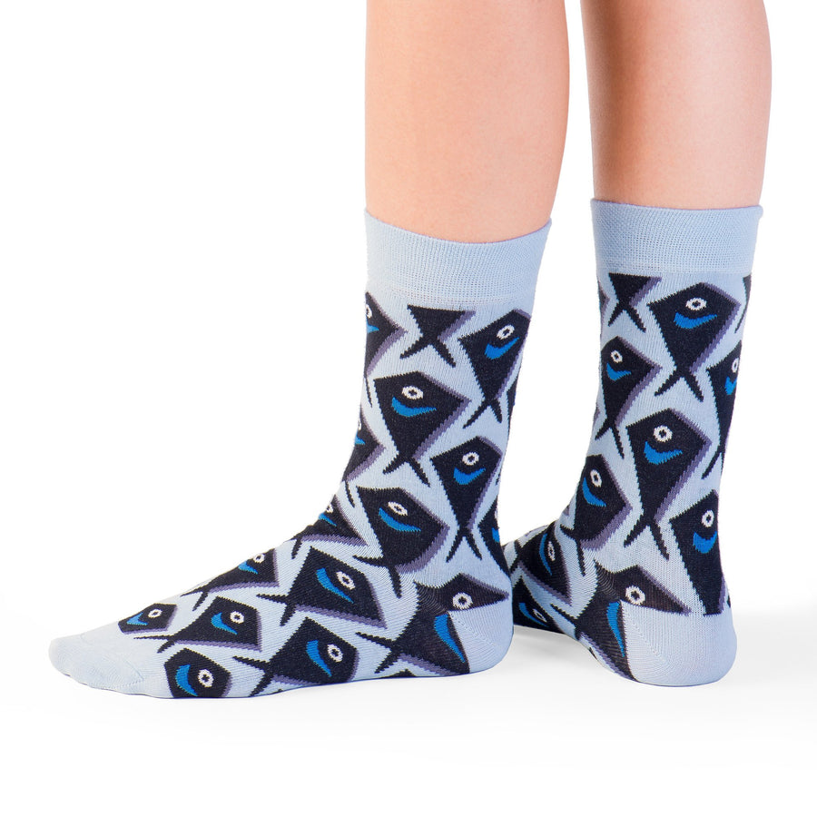 feet socks with black fishes funny socks artsocks