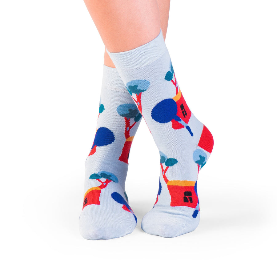 socks blue house with tree colorful socks artsocks