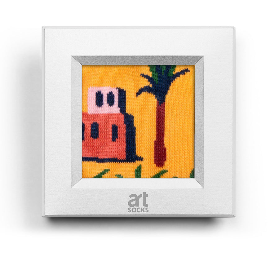 frame socks yellow palm tree colorful socks artsocks frame