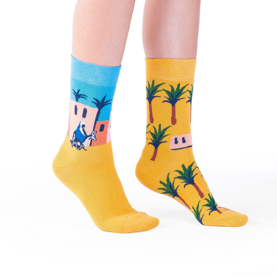 socks yellow palm tree colorful socks artsocks