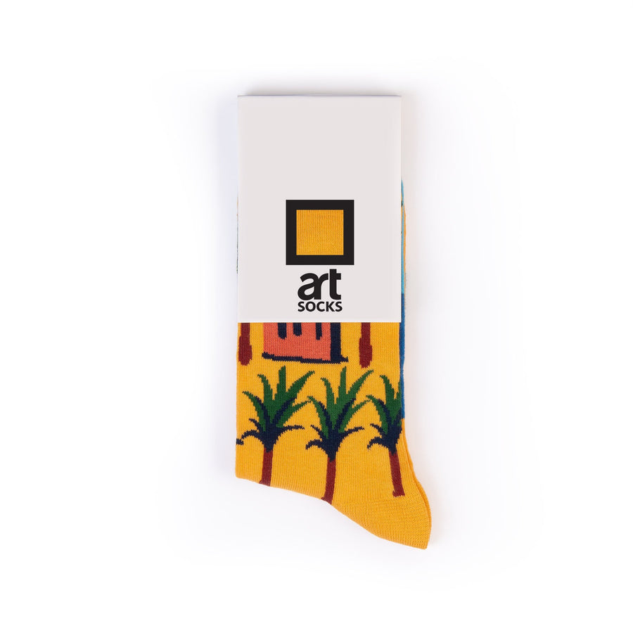 socks yellow palm tree colorful socks artsocks label